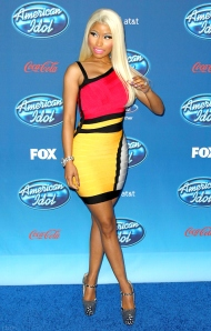 NICKI MINAJ PROMOTES AMERICAN IDOL IN A HERVÉ LÉGER COLORBLOCK BANDAGE DRESS