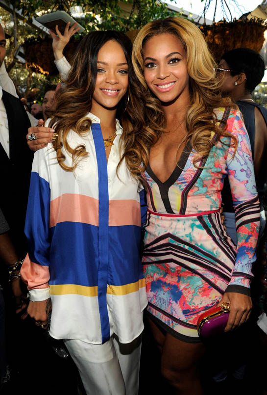 Beyoncé and Rihanna smile for the camera at Roc Nation's 2013 Pre-Grammy Brunch.