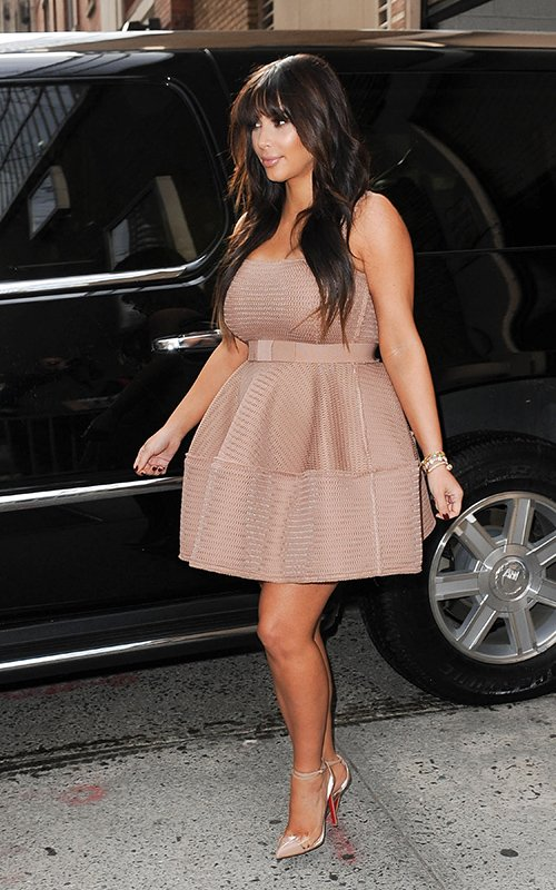 Kim Kardashian appeared on -Live-with Michael and Kelly in a Lanvin Beige Dress www.jinnaloves.comPic2