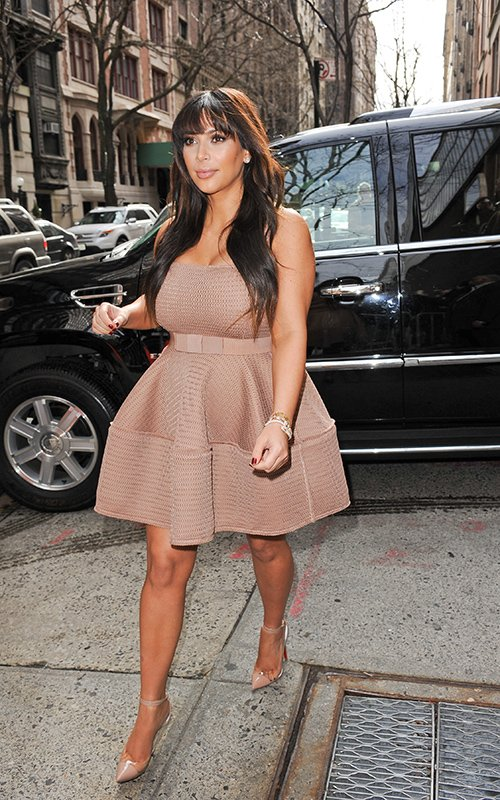 Kim Kardashian appeared on -Live-with Michael and Kelly in a Lanvin Beige Dress www.jinnaloves.comPic1