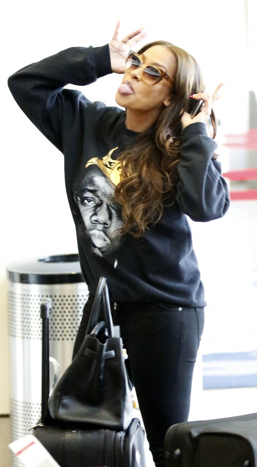 Lala Anthony at LAX Airport in a Biggie King of NYC Sweatshirt www.jinnaloves.comPic1