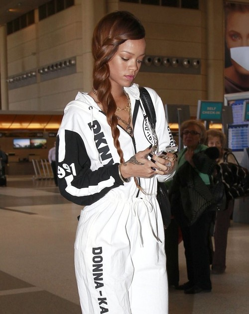 Rihanna at LAX airport in a DKNY for Opening Ceremony Jumpsuit jinnaloves.comPic2
