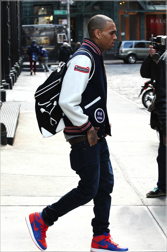 Chris Brown in Opening Ceremony's Patch Jacket www.jinnaloves.comPic2