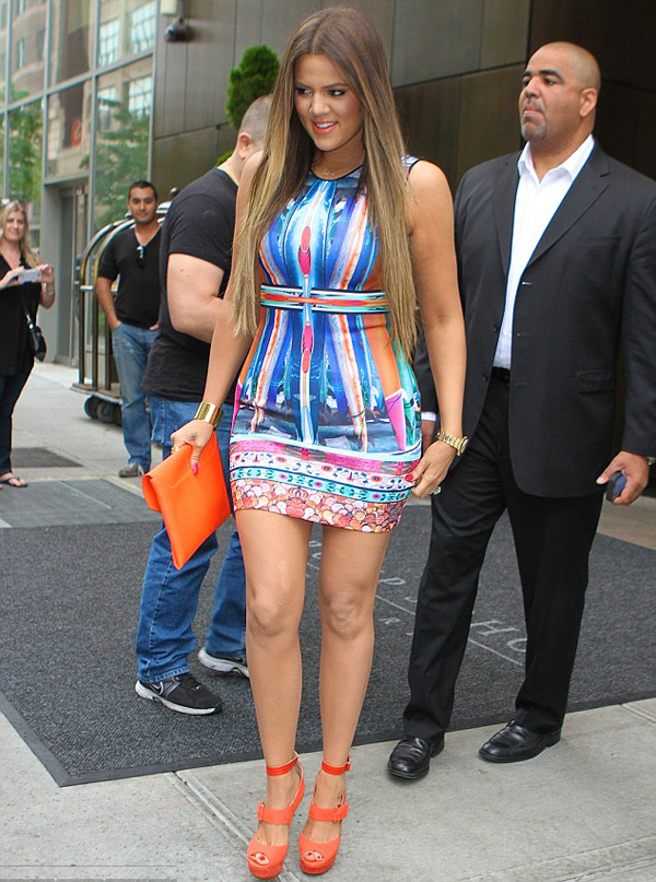 Khloe Kardashian in Clover Canyon Printed Bodycon Dress and Jimmy Choo Letitia Platform Sandals www.jinnaloves.comPic2