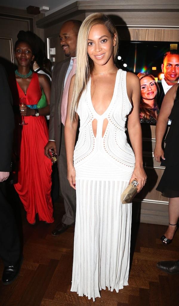 Beyoncé at the 40/40 Club in Roberto Cavalli Spring 2013 White Dress