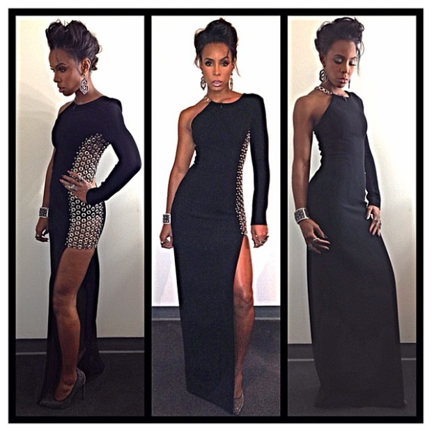 Kelly Rowland Anthony Vaccarello Grommet Embroidered Dress www.jinnaloves.com