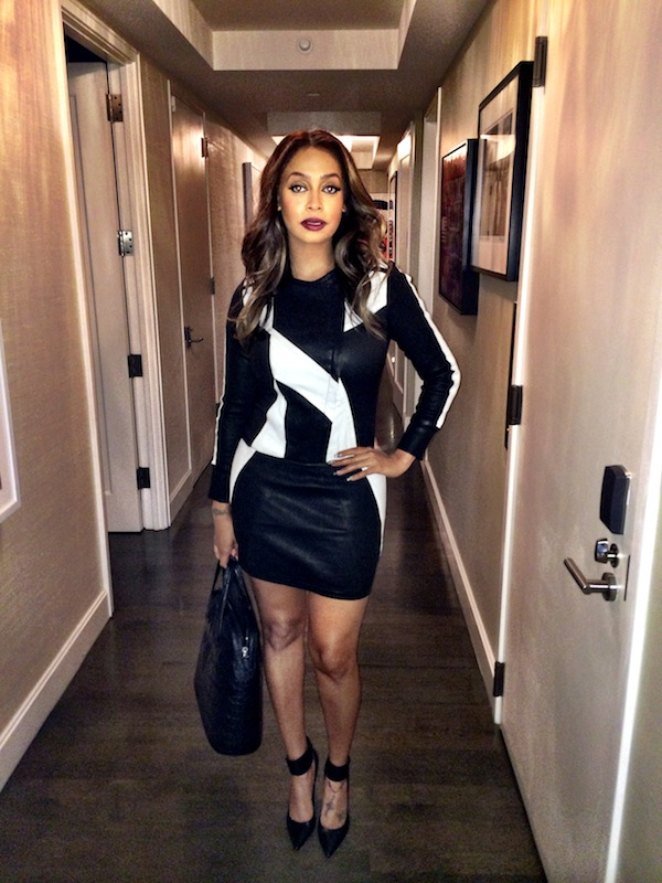 La La Anthony Iro Dress and Gianvito Rossi Suede Cuff Pumps www.jinnaloves.comPic1