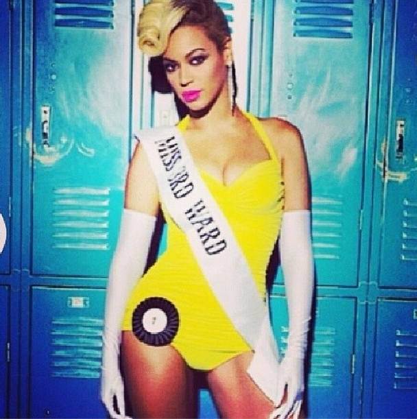 Beyonce in the Pretty Hurts Video in Norma Kamali Yellow Bathingsuit One-piece Swimsuit www.jinnaloves.com