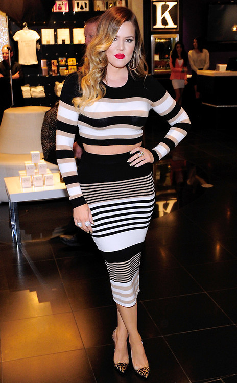 Jinna Loves Her Look Khloe Kardashian in Torn By Ronny Striped Crop Top and Skirt and Gianvito Rossi Pumps www.jinnaloves.com