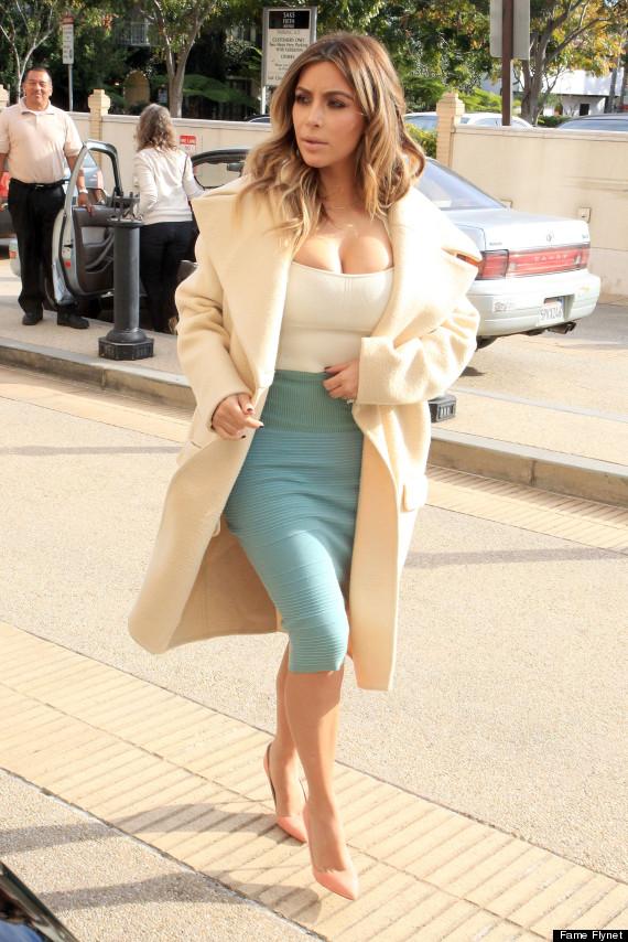 Kim Kardashian white crop top and green pencil skirt www.jinnaloves.comPic4