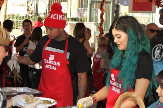 Kylie Jenner and Tyga serve Thanksgiving Dinner to the homeless 2014