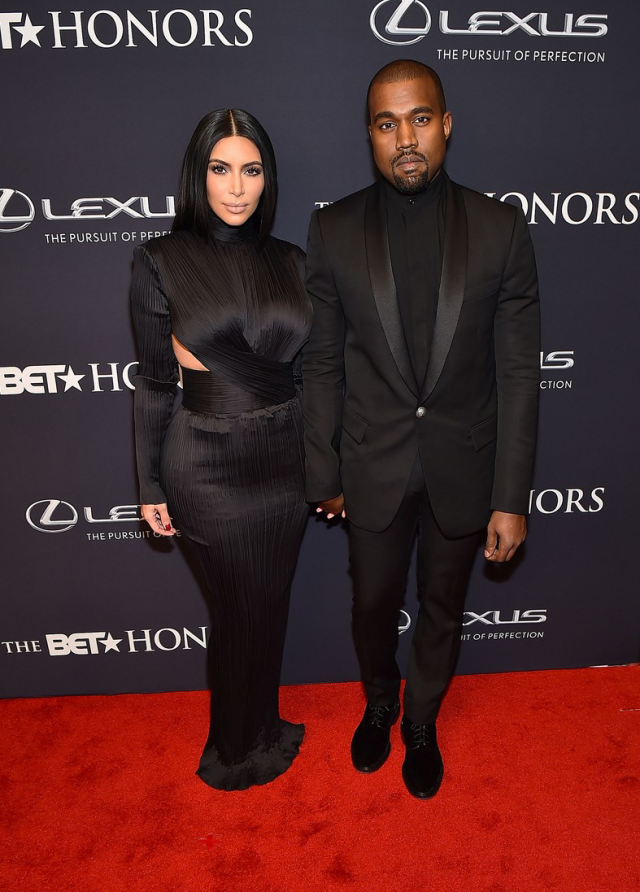 Kim Kardashian West and Kanye West in Balmain at the 2015 BET Honors