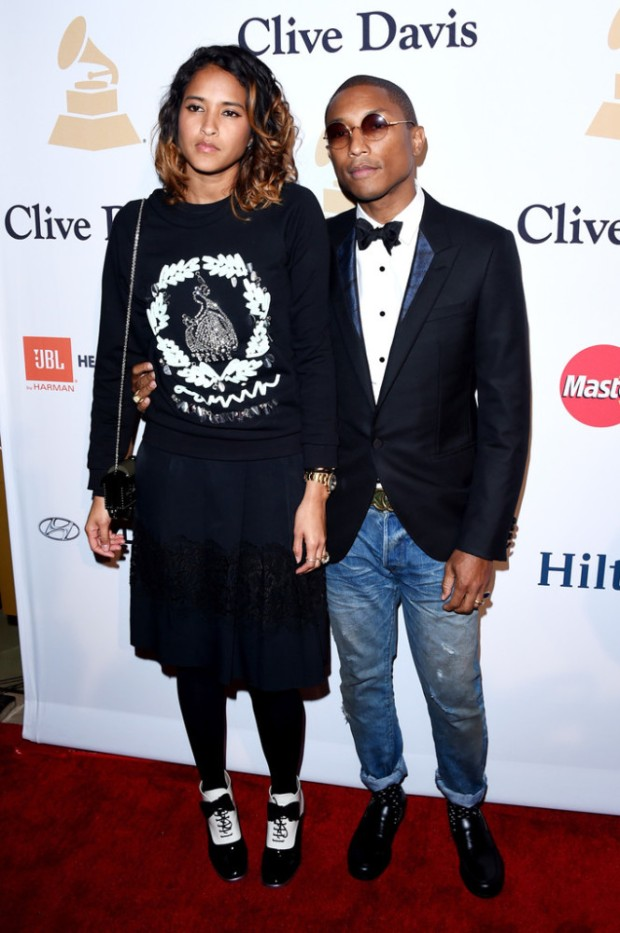 Pharrell Williams and Wife Pre-Grammy 2015